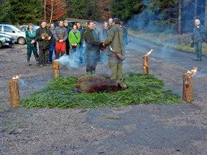 Ze společné lovecké akce vrežijní honitbe Skuhrov III